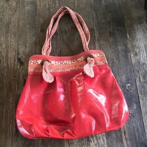 Fossil Red Coated Canvas Shoulder Tote Hobo